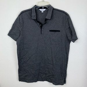 Calvin Klein Striped Polka Dot Polo Shirt Collared